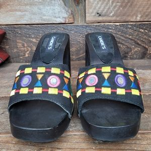 Vtg Candie's Boho Wooden Leather Slip On Heels